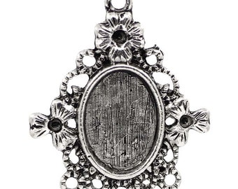 SALE Cabochon Frames - Antique Silver - Holds 14x10mm - Holds SS5 Rhinestones - 30x25mm - 5pcs - Ships IMMEDIATELY - SC1061