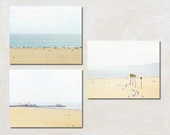 Beach Photography Set, Santa Monica Pictures, Ocean Photograph Set, Coastal Wall Art, Modern Seaside Art Set