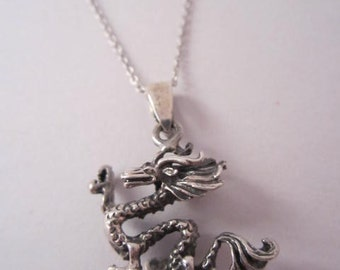 Sterling Silver Dragon Pendant 925 Sterling Silver Dragon Necklace Pendant Silver Dragon Pendant Dragon Charm Gift under 30