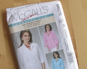Uncut McCalls 6076 Sewing Pattern - Palmer Pletsch - Misses Shirts - Size 8 - 14