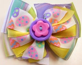 SPRING Yellow, Purple Glitter, Blue, Green, White EASTER Egg Stacked Boutique Style Ribbon Bow Handmade for PETS Dog Collar Accessory
