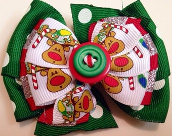 Green Polka Dot Red & Silver Glitter Reindeer Peppermint HOLIDAY CHRISTMAS Boutique Style Ribbon Bow Handmade for PETS Dog Collar Accessory