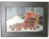 1900 Oil Painting on Artist Board, Antique Victorian Still Life of Strawberries, Signed by Artist
