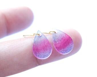 Semi-Transparent Teardrop Shrink Plastic Earrings