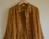 Japanese tartan collar shirt jacket in mustard - size 8 -10