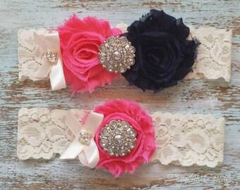 Hot Pink Wedding Garter, Wedding Garter Set, Bridal Garter, Lace Garter, Custom Garter, Toss Garter Included