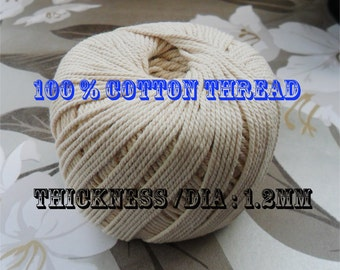 1.2 mm Natural Beige pure 100% Cotton Thread for Jewellary hand stiching spool