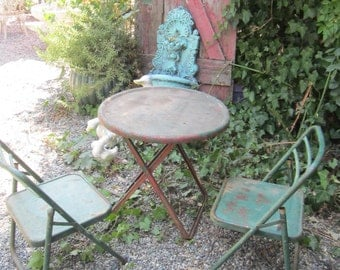 Vintage red and green French bistro table and two chairs shabby decor