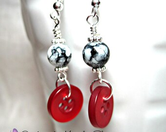 CLEARANCE Black and Red Button Earrings