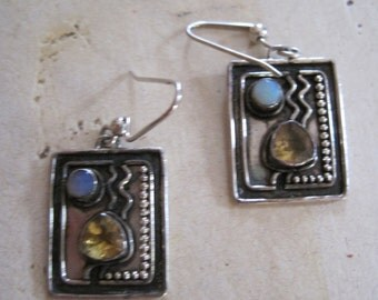 Art Deco sterling silver earrings with opal and citrine