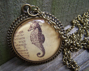 Sea Horse Handmade Necklace--Vintage Dictionary Print Cabochon Necklace--Valentines Gift for Her--Marine Biology Gift