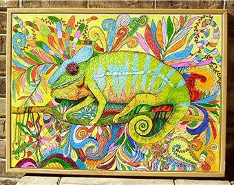 Zentangle Inspired Vibrant  Chameleon, Framed  ready to hang - 25 x 19 x 1.5  Original Painting by  ebsq Artist Ricky Martin  FREE SHIPPING