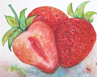 Strawberries, Kitchen, Dining, Contemporary Decor - Ready to Hang - Original Watercolor Painting by ebsq Artist Ricky Martin  FREE SHIPPING