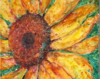 Vibrant Sunflower  Abstract,  Original Fine Art  Contemporary  Home Decor  Watercolor  Painting by ebsq Artist Ricky Martin FREE SHIPPING
