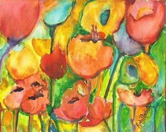 Vivid Vibrant  Bright Abstract  Flowers # 7  Original Fine Art ready to hang  Watercolor  Painting by ebsq Artist Ricky Martin FREE SHIPPING