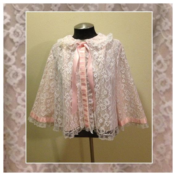 Vintage 1950 S Bed Jacket By Odette Barsa In Pink Lace