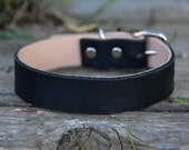 Black Leather Dog Collar Traditional Handmade Boho Southwestern Country Western Oil-Tanned Rustic Leather Dog Collar