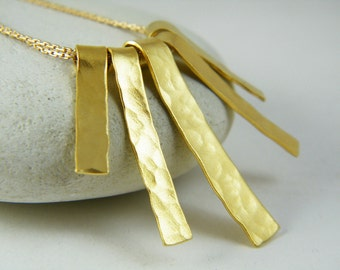 Hammered gold fringe necklace gold stick necklace