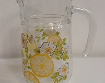 1970/80's Medium Lemons Glass Jug