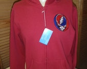 Men's 1 XLGE  Zip Up Hoodie RED Grateful Dead Steal your Face Embroidery Size 1X Lge