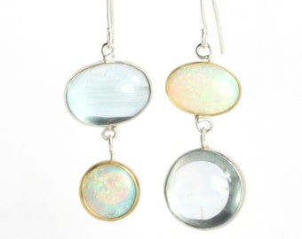 Australian Opal & Aquamarine Miss Matched Earrings