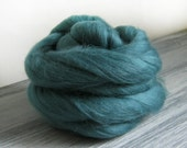 Deep teal wool roving 50 grams of pure Merino roving ideal spinning fiber or felting wool in bluey green no 64