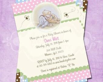 Classic Pooh Polka Dot Baby Shower Invitation