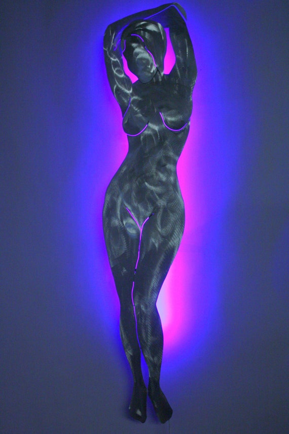 Metal Sculpture Wall Lights : Items similar to Metal Art - Nude Woman - by Wilmos Kovacs - Metal Sculpture - Color Changing ...