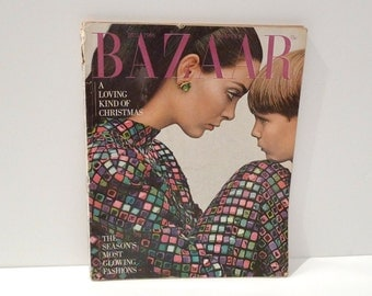 Bazaar Christmas Magazine Vintage Harpers Bazaar Magazine December 1966 Mod 1960s Fashion Featuring Most Glowing Fashions Bathing Swimsuits