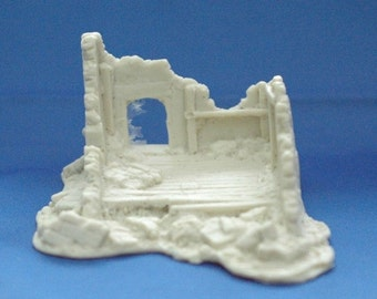 Terrain FOW Compatible 15mm WWII Bombed Out House Cast In Resin