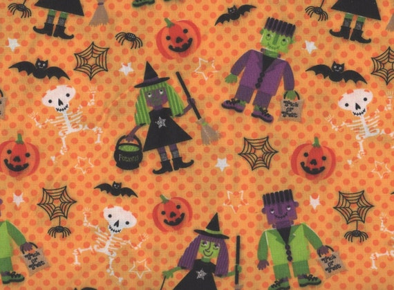 Halloween Witches Frankenstein Halloween Fabric Black