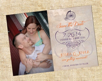 Vintage Bicycle Save the Date Announcement
