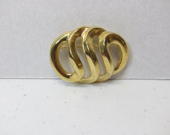 Vintage GIVENCHY Brooch Gold Swirl