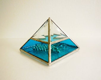 Stained Glass Display Box. Clear and Turquoise Jewelry Box. Glass Pyramid
