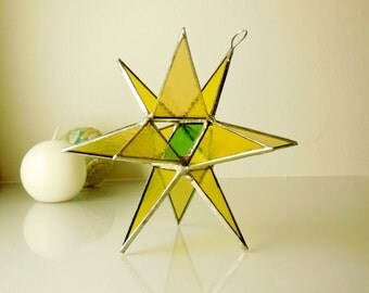 12 Point Moravian Star. 3D Stained Glass Suncatcher.