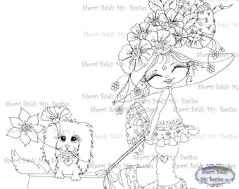 INSTANT DOWNLOAD Digital Digi Stamps Big Eyed  Besties Big Head Dolls fancy pants Wagon ride Digi By Sherri Baldy