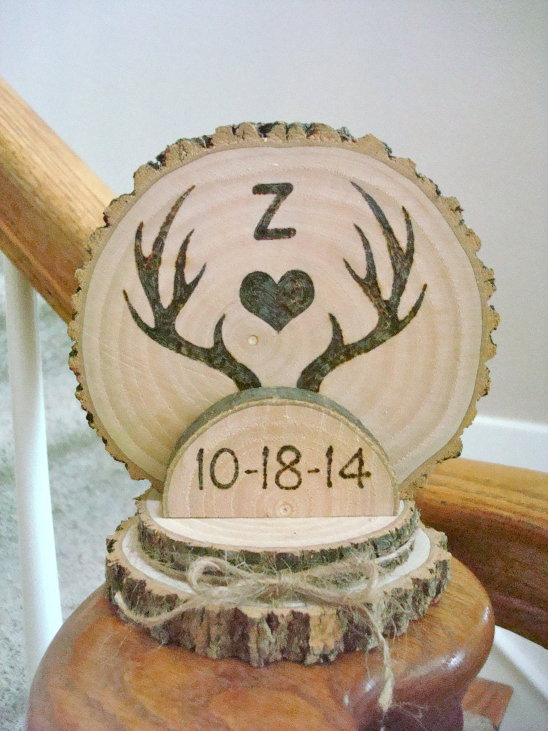 wooden rustic country wedding cake topper custom rustic wedding cake topper wood burned deer antlers 27594