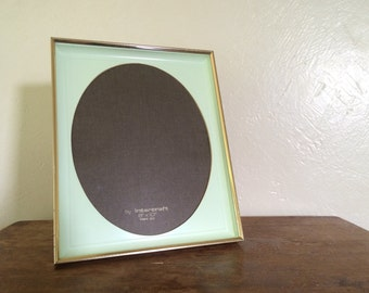 Brass Picture Frame with Mint Green Plastic Matting 8 x 10