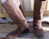 vintage brown leather campus boots cowboy boots  - 90s