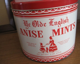 Vintage Large Red Tin / Canister - Ye Olde English Anise Mints