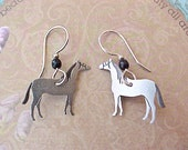 Darling Little Vintage Dangling Horse Metal Earrings