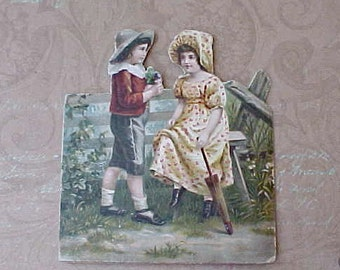 Adorable Victorian Scrap-Boy Presents Bouquet to Girl