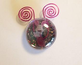 Wire Work Piglet Glass Magnet