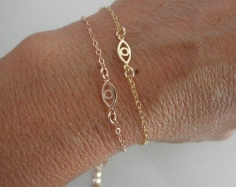 Tiny  vermeil  evil eye bracelet  goldfilled chain