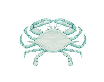 Blue Crab Watercolor Clip Art  -  Digital Clipart - PNG - JPG - Hand Drawn - Limited Commercial - Instant Download