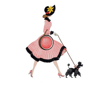 Lady in Pink Dress with Poodle - Digital Clipart - PNG - JPG  - Limited Commercial - Clip Art - Instant Download - Digital Stamp