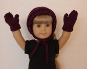 Knitted doll hat and mittens