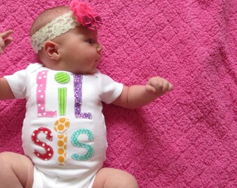 Little Sister Shirt Lil sis shirt  set gift baby shower photo prop Patches and Puppies