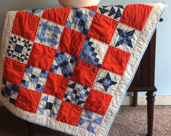Wall Hanging Throw Baby Crib Red White Blue Quilt