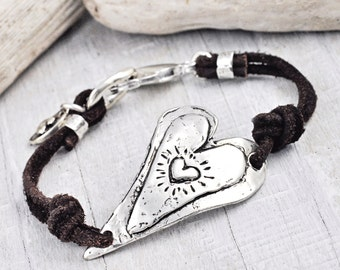 Willing Heart Bracelet - Heart Jewelry - Leather Bracelet - Inspirational Bracelet -B378